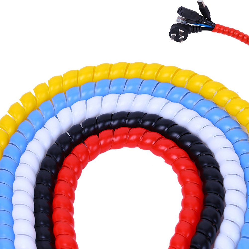 WINGOFFLY 5pcs x 6.5Ft 12mm Cable Management PP Hose Protector Sleeve Spiral Wire Wrap Tube Cable Organizer