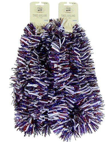 Momentum Brands Decorative Patriotic Red White and Blue Tinsel Garland – 2 pc 9 feet each (White Wide Red Blue) ()