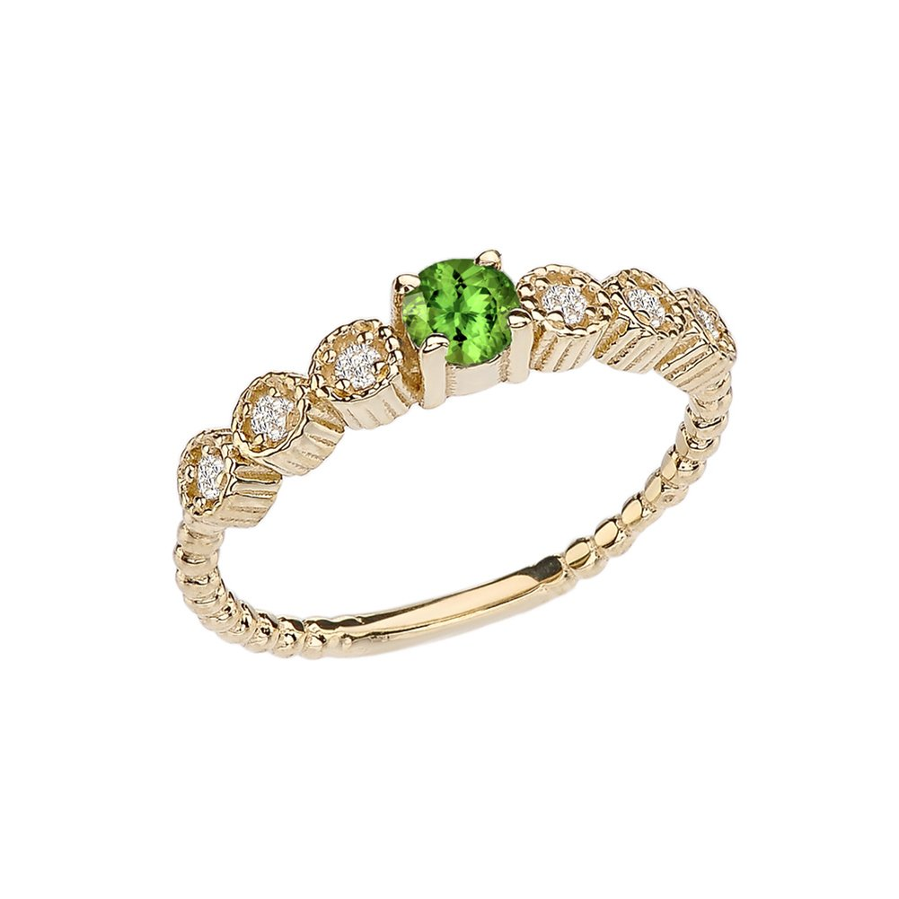 10k Diamond Stackable/Promise Beaded Popcorn Collection Ring in Yellow Gold With Genuine Peridot Center Stone (Size 7)