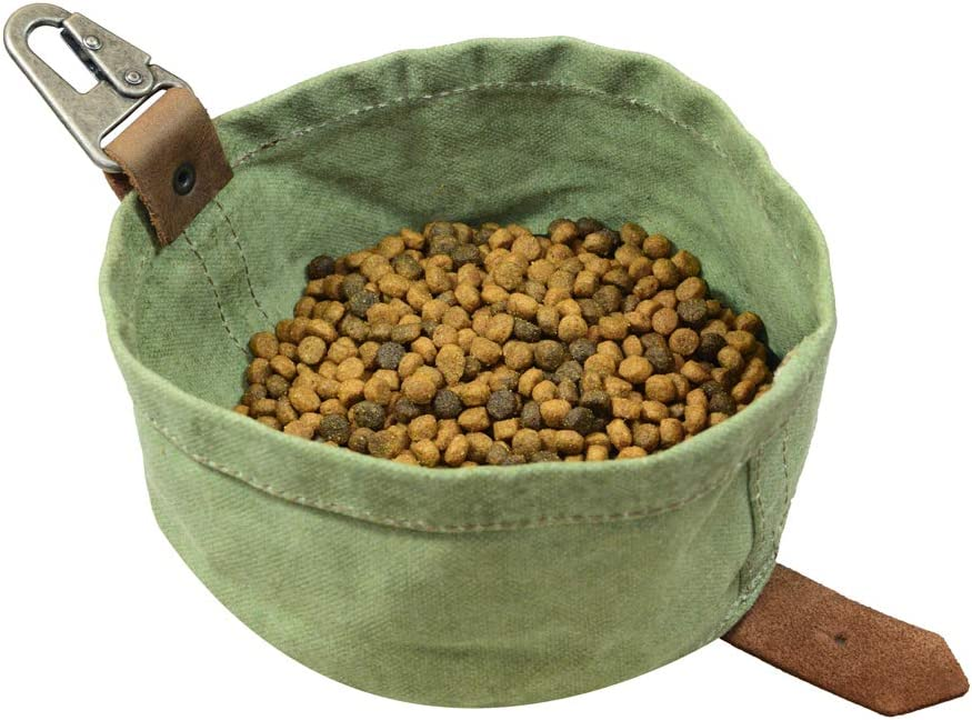 Hide & Drink Travel Dog Food & Water Bowl Handmade Waxed Canvas