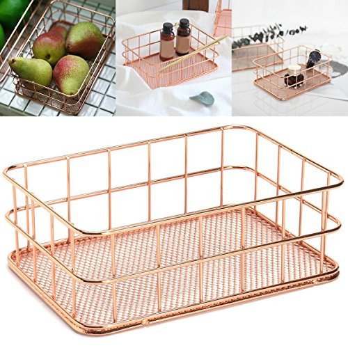Caveen Modern Copper Rose Gold Wire Mesh Basket Storage Office Bedroom Bathroom Rose Gold medium Photo #8