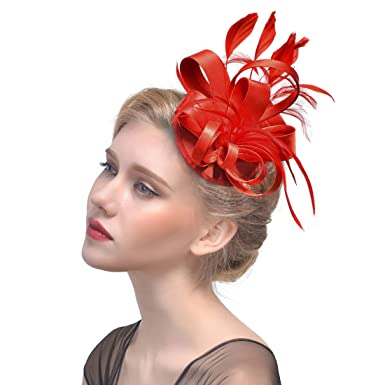 68a1b1dda24 Petsvv Womens Flower Feathers Fascinator Hair Clip Hat Kentucky Derby  Headband at Amazon Women s Clothing store