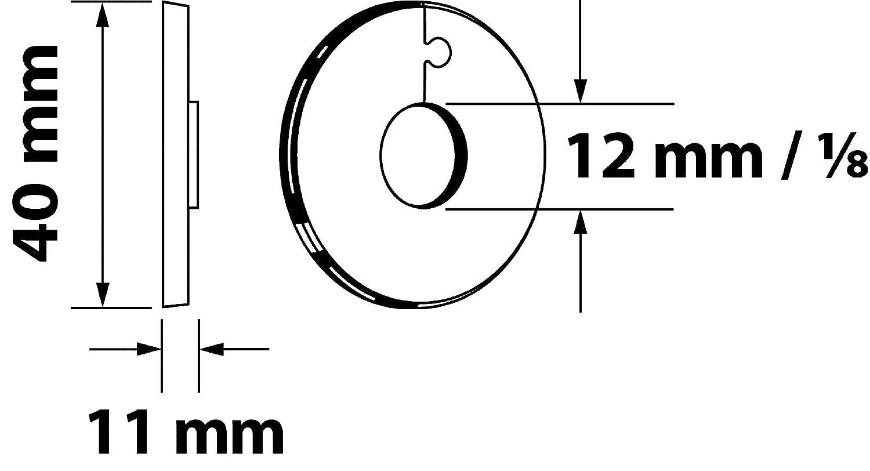 4 St/ück Sanitop-Wingenroth 19214 9 Klapprosette Au/ßendurchmesser 40 mm 12 mm oder 1//8 Zoll Wei/ß Rosette 4er-Set
