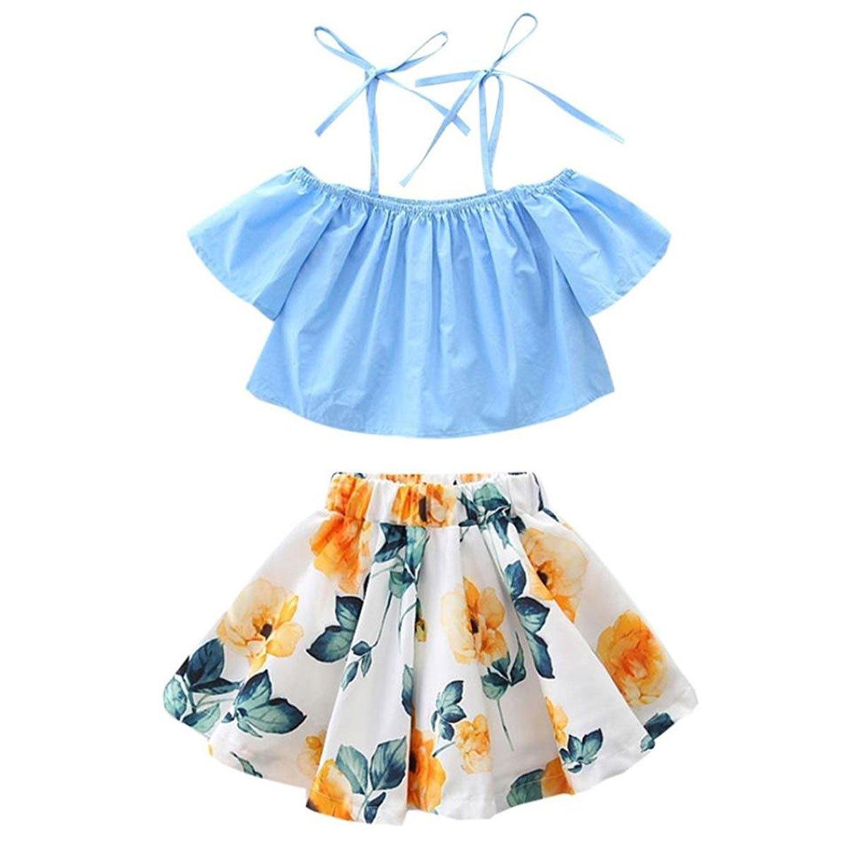 Arleysh Toddler Baby Girls Clothes Summer Off Shoulder Tops + Floral Skirt 2pcs Outfits Set (1-2T, Blue Flower)