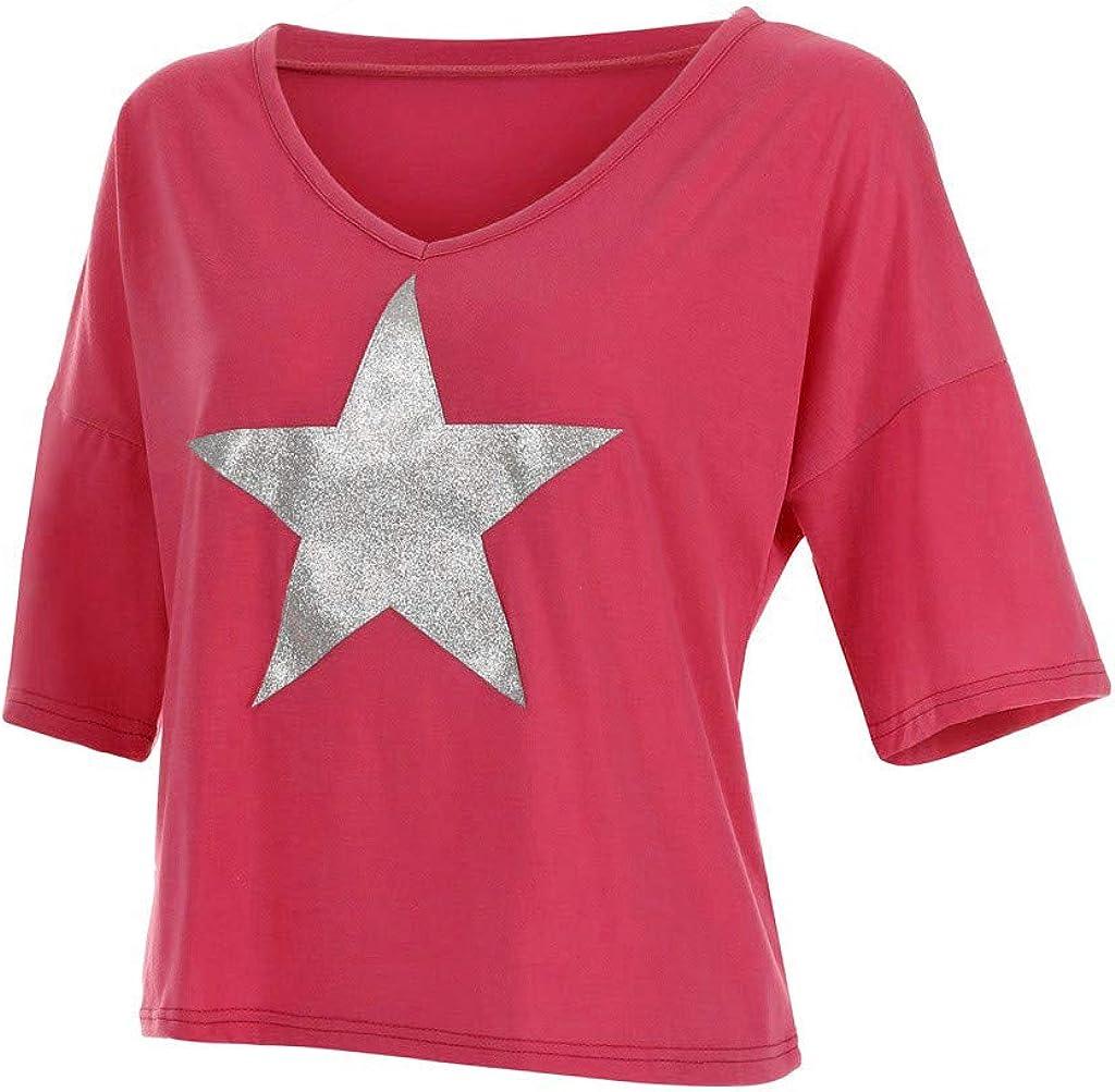 Xmiral t Shirt Donna Divertenti Top da Donna a Manica Lunga con Scollo a V e Scollo a V Tinta Unita M Donna Rosa Caldo