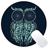 Wknoon Cute Owl Abstract Feather Art Round Gaming Mouse Pad Custom Design, 8' Non-Slip Rubber Mousepad Mat