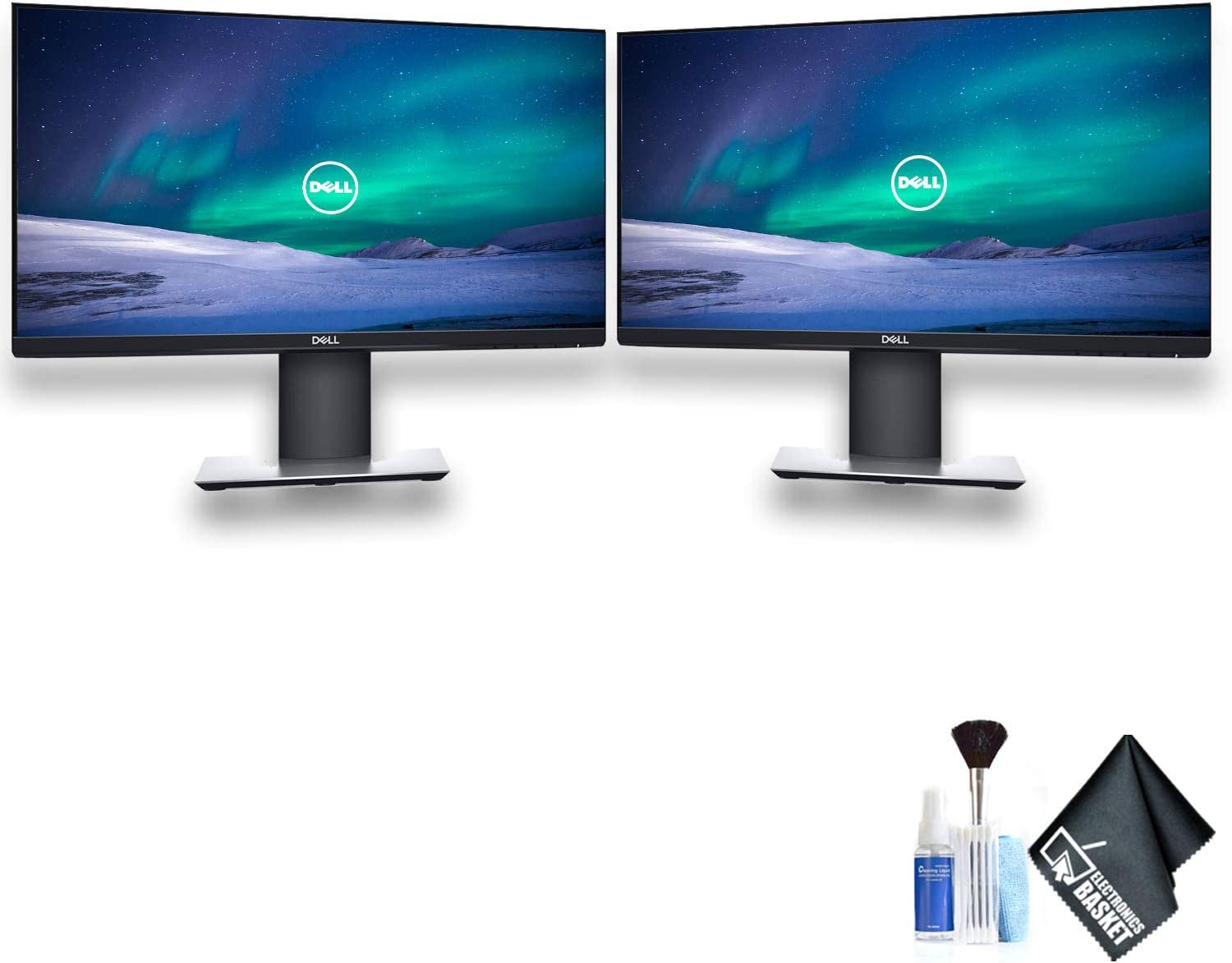 "Dell P2219H 21.5"" 16:9 Ultrathin Bezel IPS Monitor Dual Monitor Set With Deluxe Cleaning Kit"