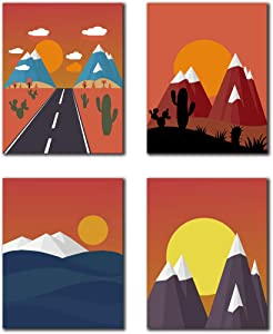 "Modern Aesthetic Mountain Sunrise Art Prints Mid Century Geometric Nature Landscape Art Painting Set of 4 (8""x10""Canvas Picture) Living Room Locker Bedroom Office Kitchen Decor Wall Frameless"