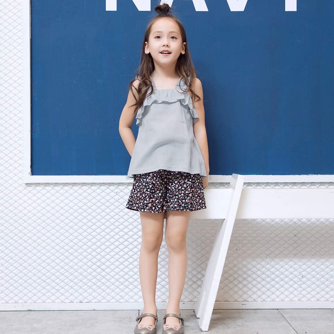 Sanlutoz Estate Set di Abbigliamento per Ragazze Cotone 2pcs Vest Top Pantaloncini Floreali