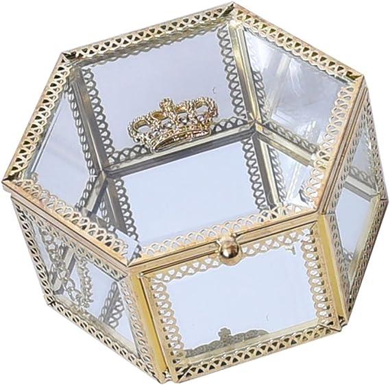 IPOTCH Caja Hexagonal del Sostenedor del Anillo del Pendiente De La Joyería del Cristal Transparente De La Corona De Oro Real: Amazon.es: Hogar