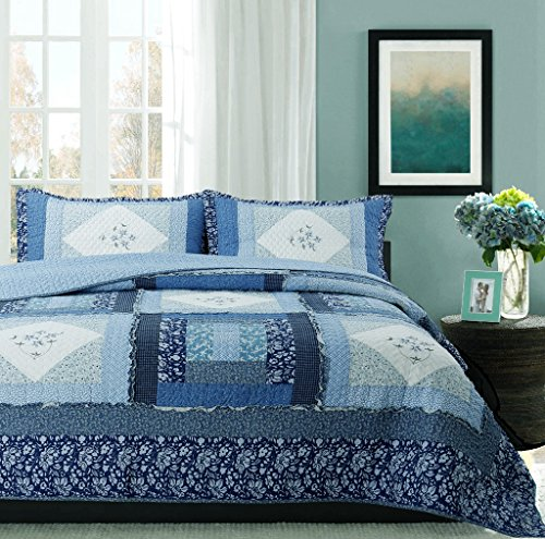 Cozy Line Home Fashions Freesia 100% COTTON Quilt Bedding Set, Blue Navy Real Patchwork, English Country Vintage Reversible Coverlet,Bedspread Gifts for Women NEW Arrival (Royal Blue, King – 3 piece)