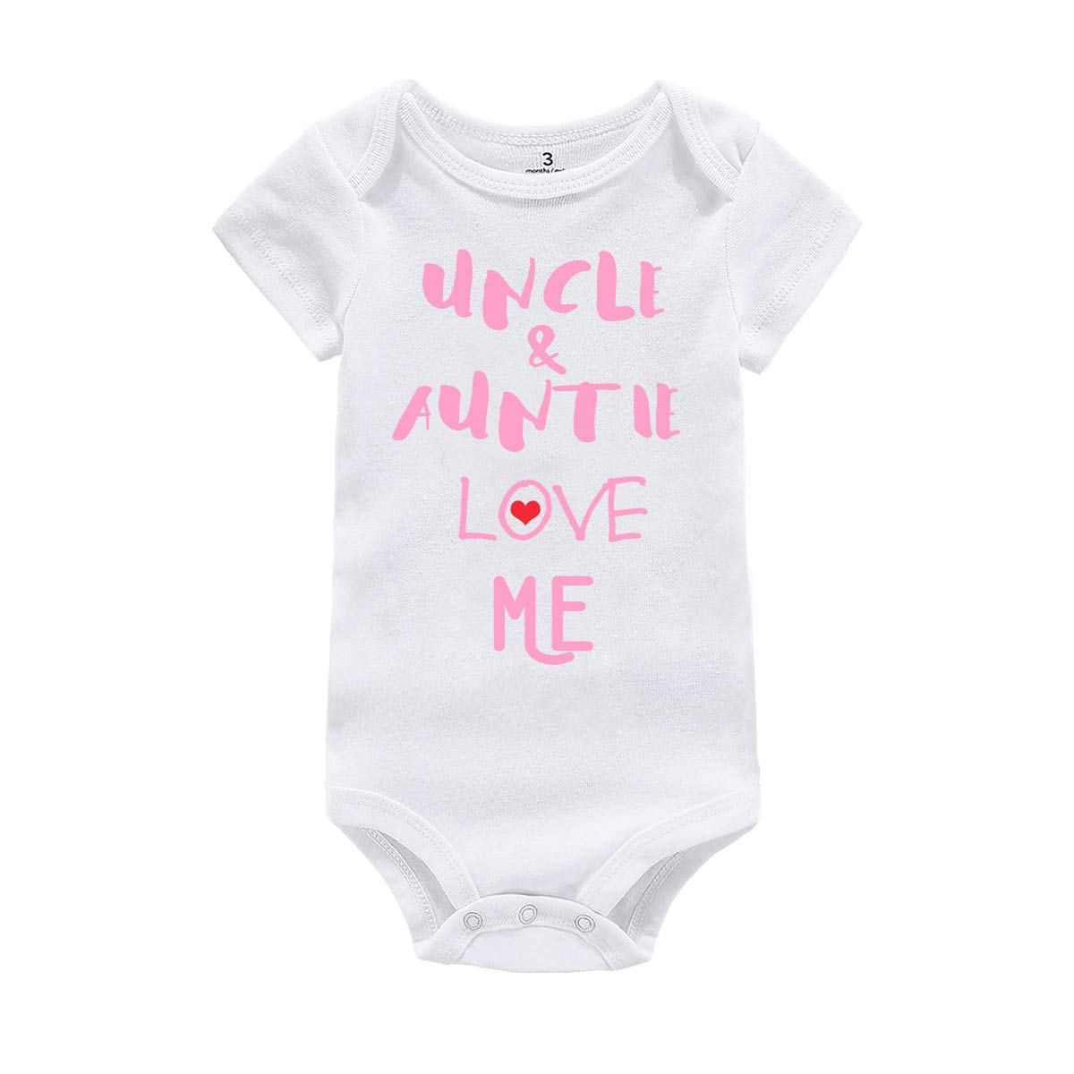 Amberetech Baby Boy Girl Romper Outfit Uncle Auntie Love Me Print Newborn Baby Jumpsuit Clothes (Uncle Auntie - Pink, Tag 12 (for 9-12 Months)) by Amberetech