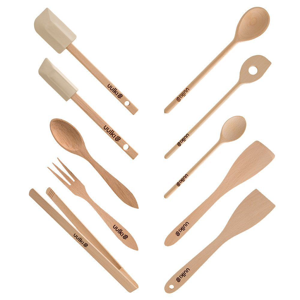 Uulki 10 pieces Eco-friendly Kitchen Utensils Set from European Beech Wood - Cooking spoons, food turners, baking spatula, grill bbq tongs, salad servers