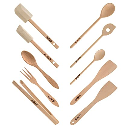 Compra Set de 10 utensilios de cocina ecológicos de madera de haya ...