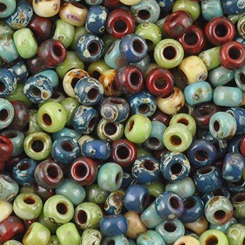 Seed Beads 11/0 Round 011 Hybrid Mix Opaque Picasso Miyuki 16 Grams