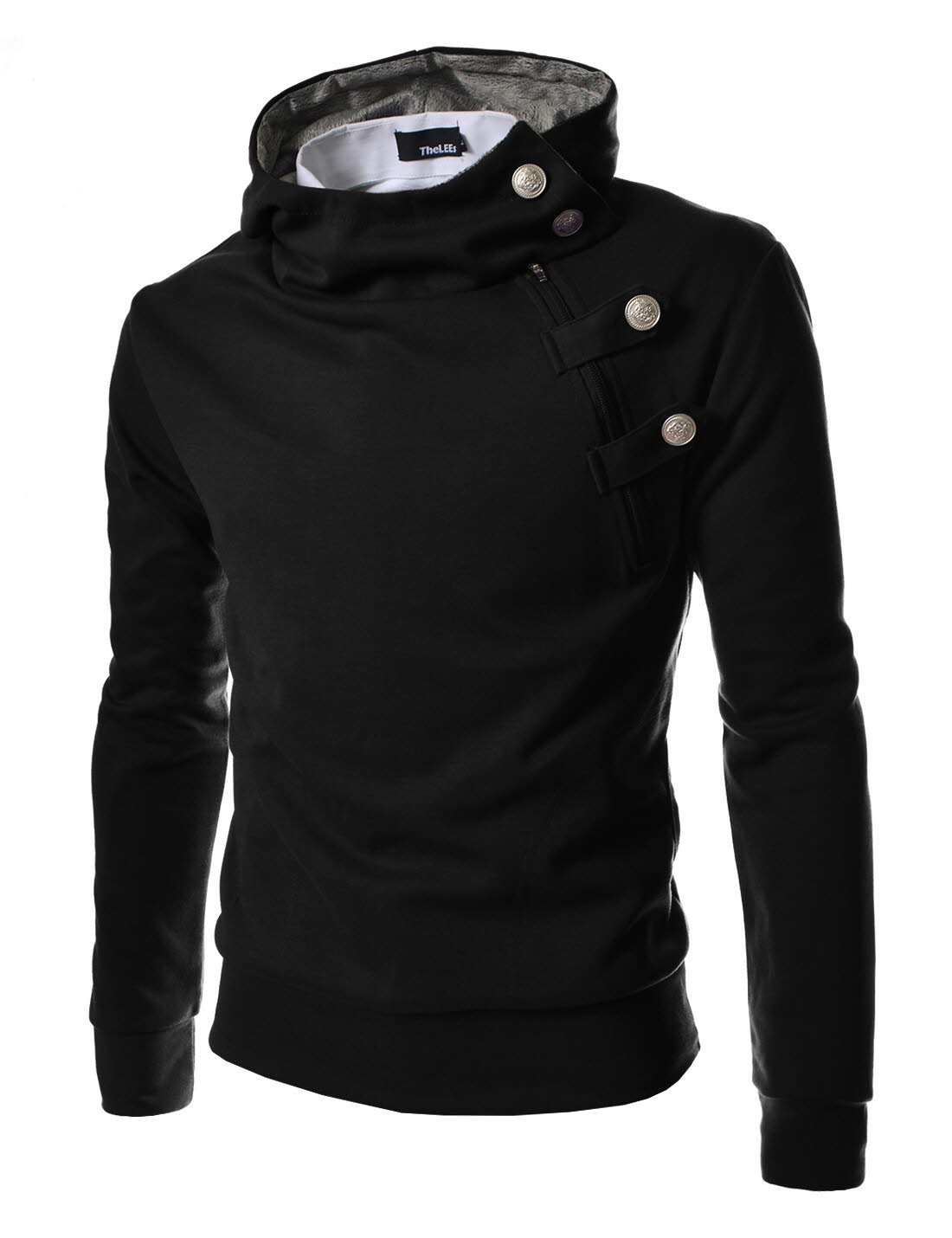 TheLees (R4BH) Mens Casual Luxury Buckle Hoodie Slim Cotton Sweatshirts BLACK US XS(Tag size M) by TheLees (Image #1)