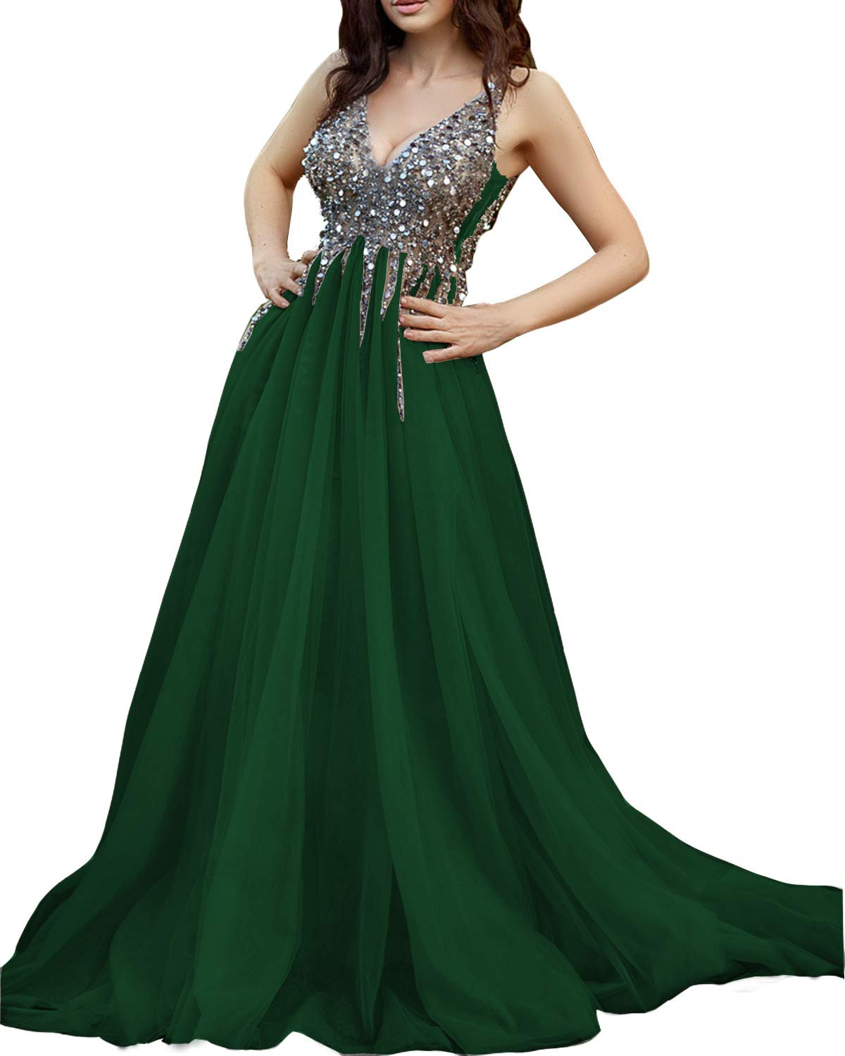 Ever-Beauty Womens Beaded V-Neck Prom Dress 2019 Long Sleeveless Tulle  Evening Formal Ball Gown Aline Emerald Green Plus Size 20