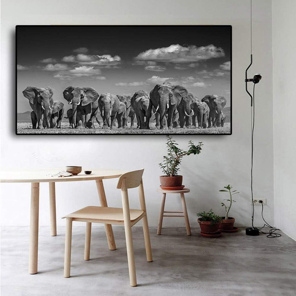 FKSRET Elefantes de África Negra Animales Salvajes Pintura ...