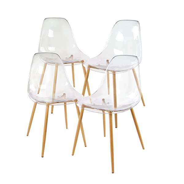 GreenForest Acrylic Dining Side Chairs Lucite Transparent Clear Seat Strong Metal Legs, Set of 4