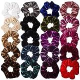 AOPRIE 20 Pack Velvet Hair Scrunchies Colorful Velvet Hair Ties Scrunchy Bobble Hair Bands For Girls Teans Kids Women Hair Rings, 20 Colors