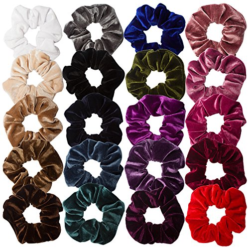 AOPRIE 20 Pack Velvet Hair Scrunchies Colorful Velvet Hair Ties Scrunchy Bobble Hair Bands For Girls Teans Kids Women Hair Rings, 20 Colors by AOPRIE