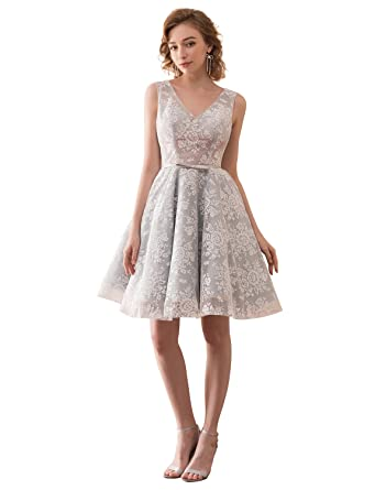Erosebridal V Neck Lace Short Prom Dress Gowns Open Back Girls Cocktail Party Dress at Amazon Womens Clothing store: