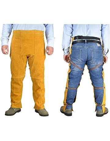 LYY Cowhide Electric Welding Overoles Resistente al Desgaste Alta Temperatura Soldador Rodilleras Leggings ignífugo Anti-
