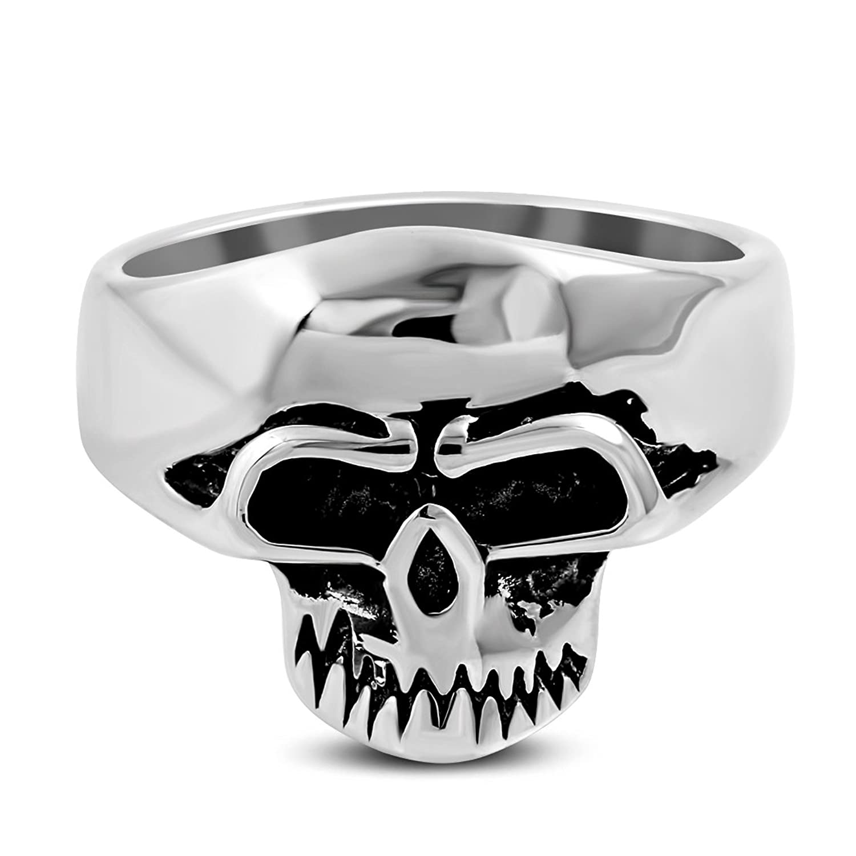 Stainless Steel 2 Color Grinning Skull Face Biker Ring