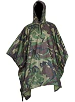 Vcansion Military Poncho Outdoor Poncho Raincoat Ripstop + Mylar Space Blankets