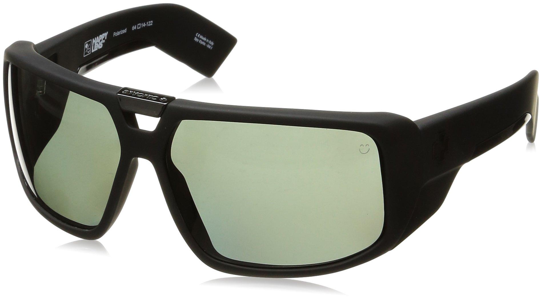 Spy Optic Touring Wrap Sunglasses, Soft Matte Black/Happy Gray/Green Polar, 64 mm