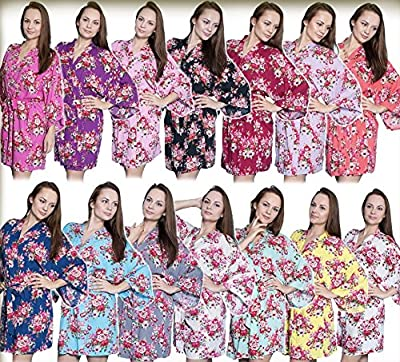 Taniri Cotton Floral Kimono Robes For Bride and Bridesmaids Wedding Party Bridesmaid Gifts 14 Colors