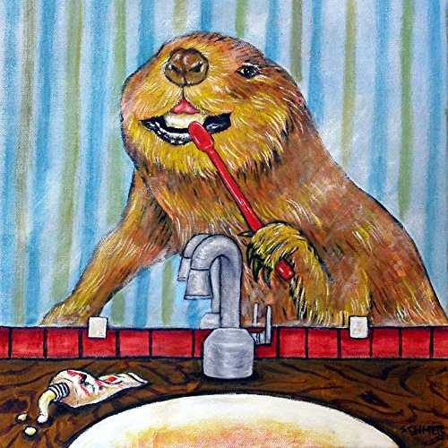 - Beaver Brushing Teeth animal dentist bathroom decor art tile coaster gift
