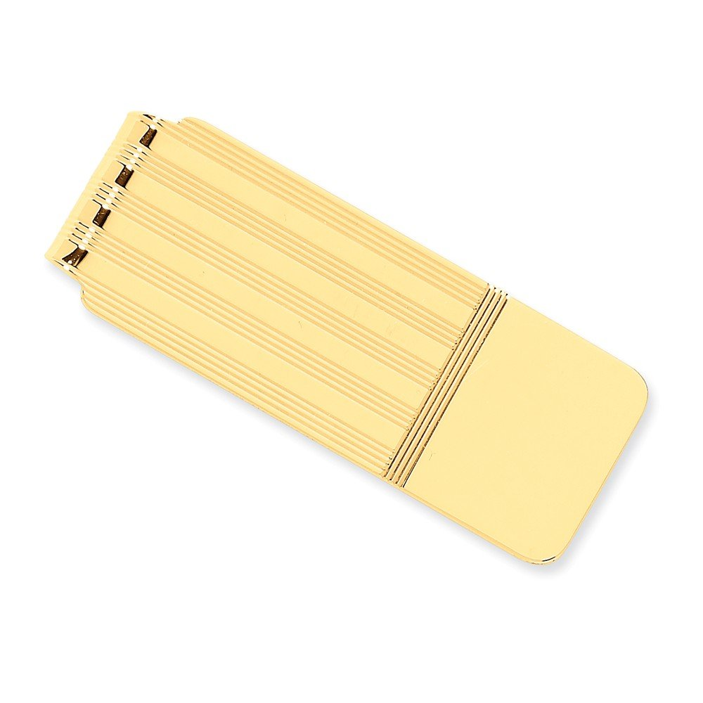 14k Yellow Gold Money Clip with Stripe Detail