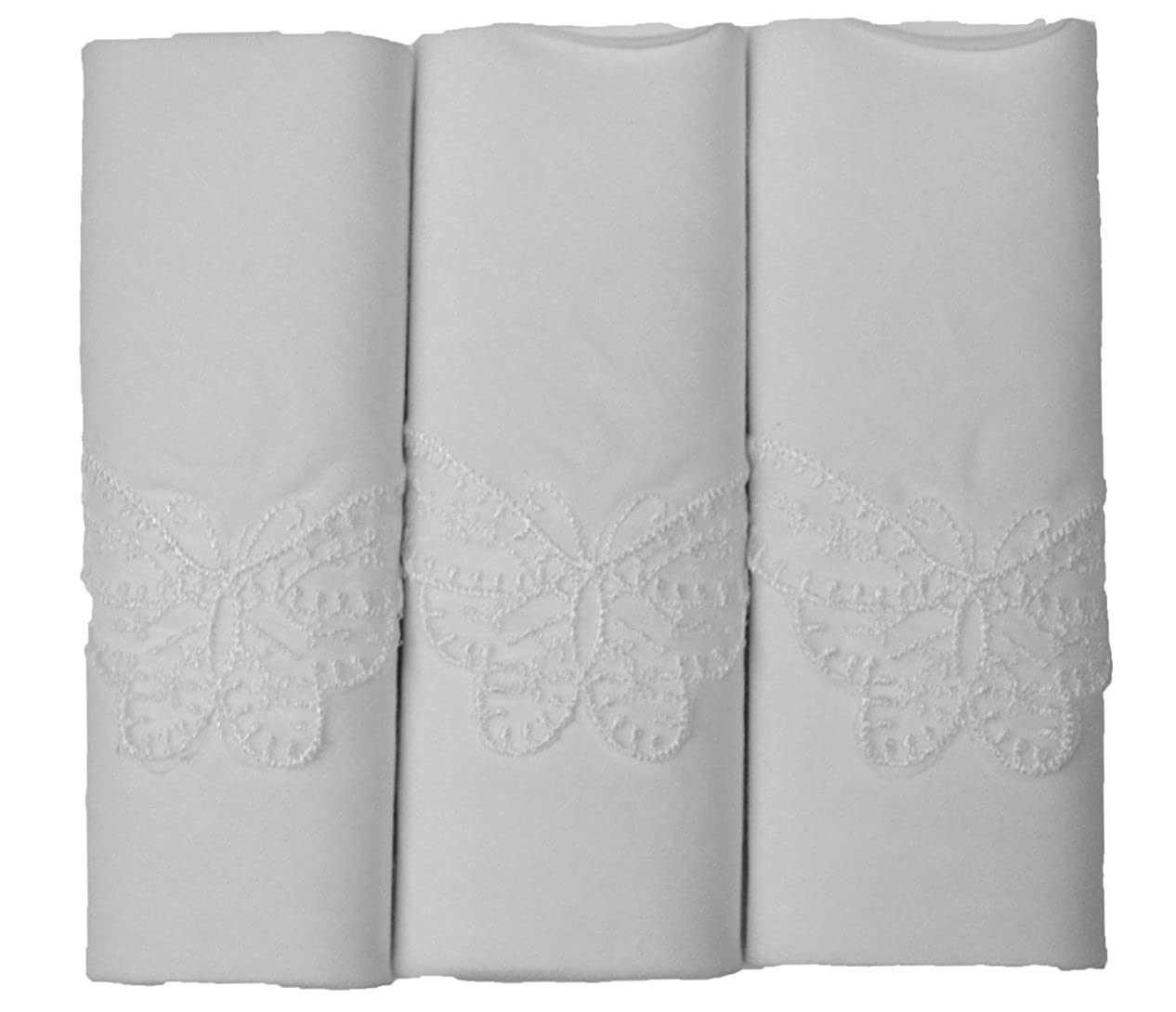 3 Pack Ladies 100% Cotton White Butterfly Lace Corner Handkerchiefs