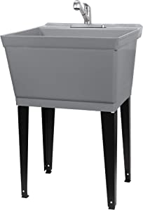 Utility Sink Laundry Tub with Pull Out Duel Setting Kitchen Faucet by JS Jackson Supplies, Laundry Room, Garage or Shop, Plastic Slop Sink, Wash Station (Stainless Steel Finish, Grey Tub)