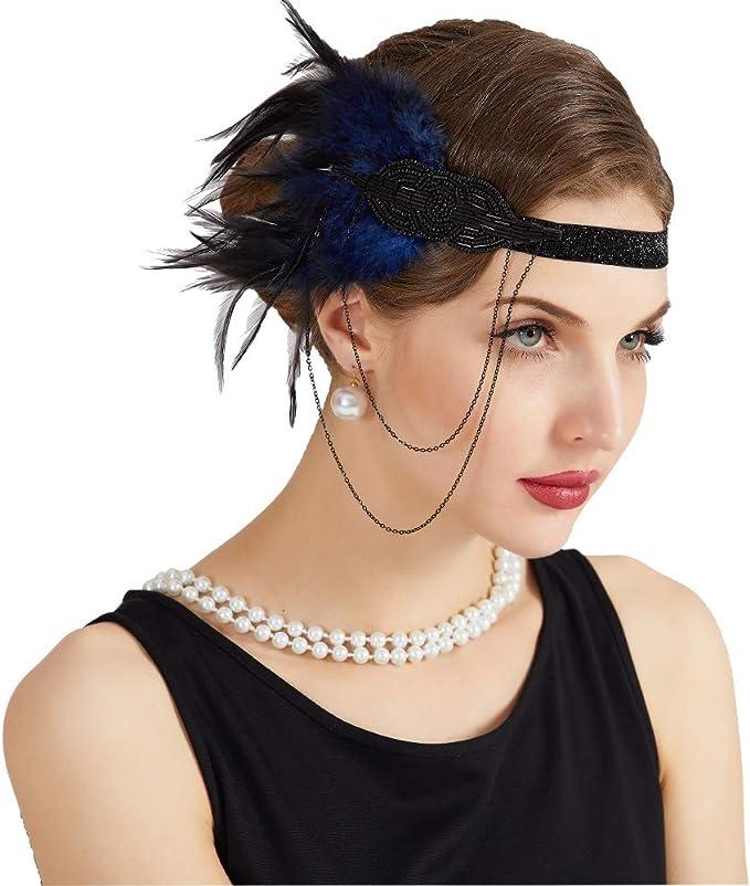 JISEN 1920s Flapper Vintage Peacock Feather Gatsby Beaded Tassel Headpiece