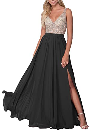 86faad4b8bb Lianai Women s Backless Beaded Bodice Evening Gown V-Neck Side Slit Formal  Party Dress Black