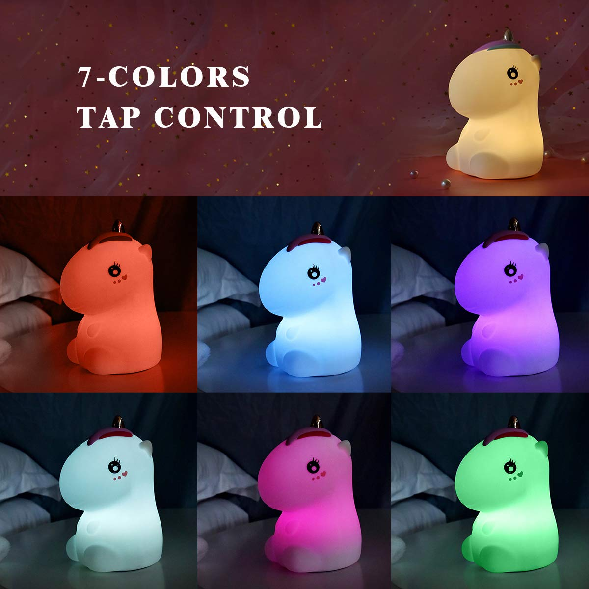 Unicorno Luce Notturna LED per Bambini, Sunvito Cute Lampada USB Ricaricabile in Silicone, Controllo Touch, Luce Calda Dimmerabile e 7-Colore Regolabile (Bianco)