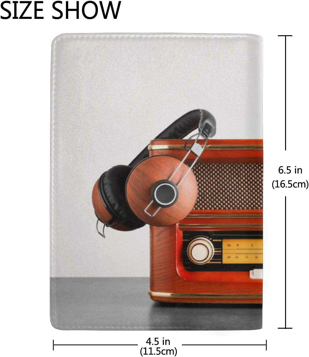 Old Radio And Headphones On Table Blocking Print Passport Holder Cover Case Travel Luggage Passport Wallet Card Holder Made With Leather For Men Women Kids Family