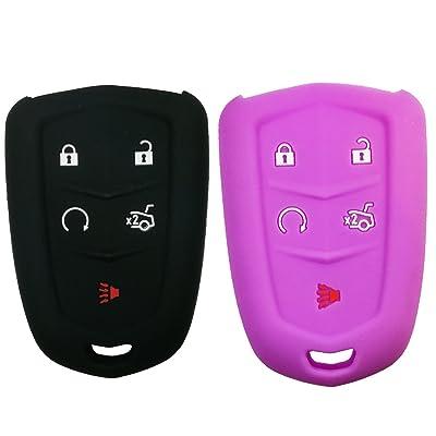2Pcs Coolbestda Rubber 5Buttons Key Fob Protector Keyless Jacket Holder Cover Skin Jacket for 2020 2020 2016 Cadillac CT6 XT5 CTS XTS SRX ATS HYQ2AB HYQ2EB Black Purple: Car Electronics