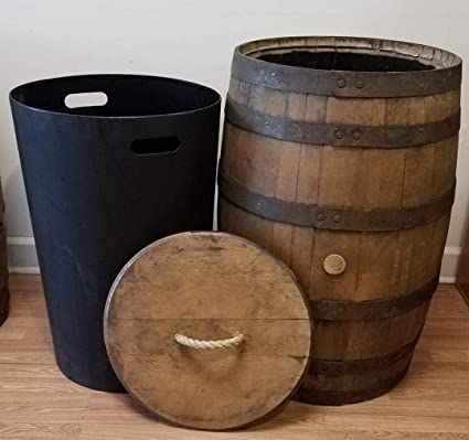 Amazoncom Whiskey Barrel Trash Can With Lid And Liner Office Products