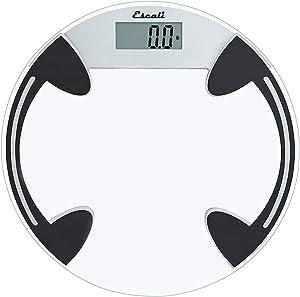 Escali B80RC Classic Glass Bathroom Body Scale, LCD Digital Display, 400lb Capacity, Clear