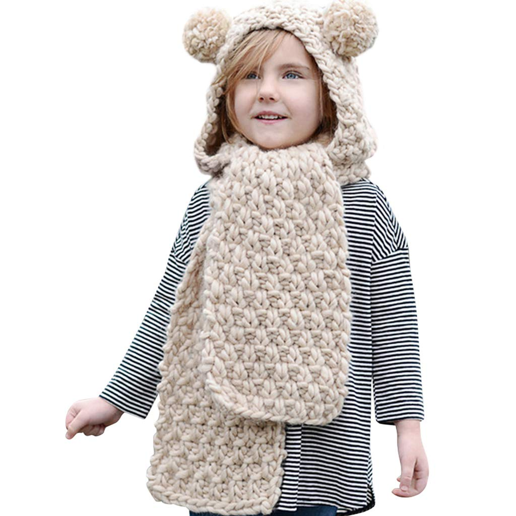 Hood Scarf Beanies Kids - Girls Winter Hats Ear Flaps Knit Cap Snow Neck Warmer by Liny (Image #1)