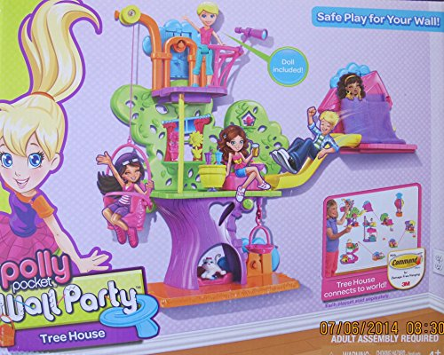 POLLY POCKET WALL PARTY TREEHOUSE Playset w TREE HOUSE has BASKET & SLIDE, Polly DOLL, CAT & More! ()
