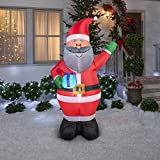 Christmas Inflatable 6.5 African American Santa Holding Gift By Gemmy