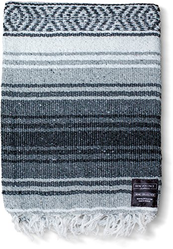 Mexican Blanket Authentic Falsa Thick Soft Woven Acrylic Serape for Yoga or as Beach Throw, Picnic, Camping, Travel, Hiking, Adventure PINK and MINT (Gray)