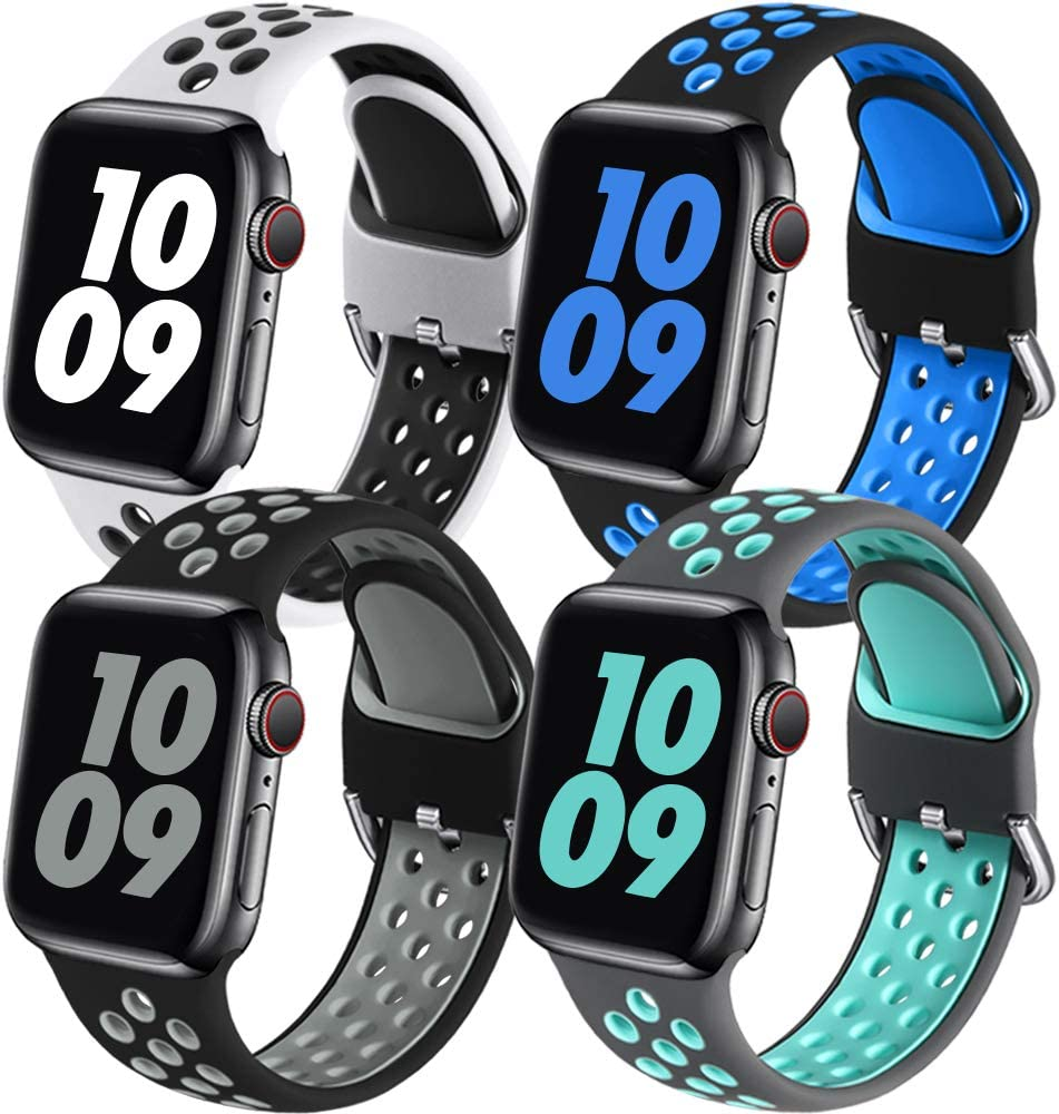 Easuny Sport Band Compatible for Apple Watch 44mm 42mm Women Men - Soft & Durable Silicone Replacement Strap Breathable Wristband with Air Holes for iWatch SE Series 6 5 4 3 2 1 42mm, S/M 4 Pack