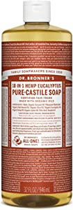 Dr. Bronner's - Pure-Castile Liquid Soap (Eucalyptus, 32 ounce) - Made with Organic Oils, 18-in-1 Uses: Face, Body, Hair, Laundry, Pets & Dishes, Concentrated, Vegan, Non-GMO