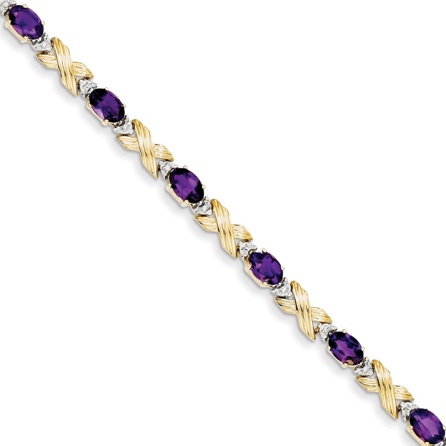 ICE CARATS 14k Yellow Gold Amethyst/diamond Bracelet 7 Inch Gemstone Fine Jewelry Gift Set For Women Heart