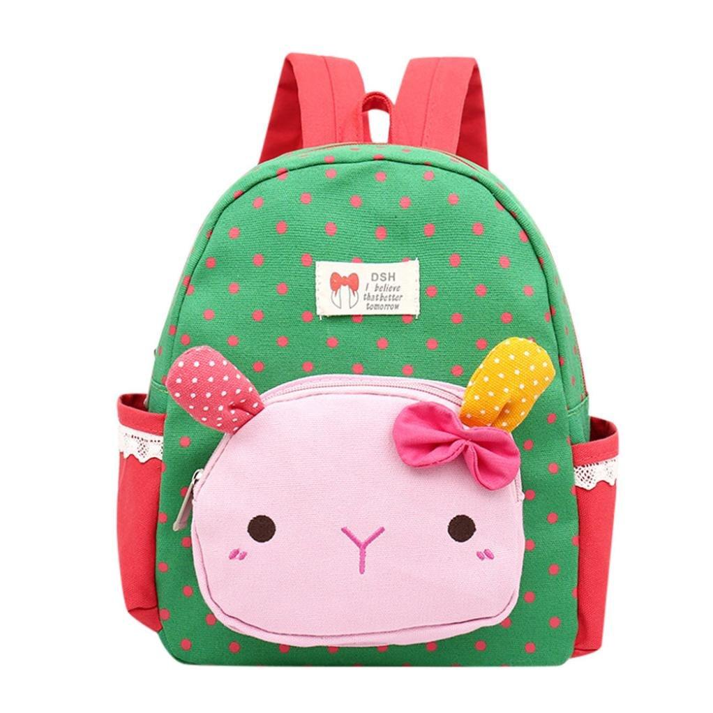 Vacally Children Baby Kids Backpack Cartoon Rabbit Animal Toddler School Bag (Green)